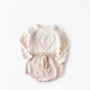Image 2 - Baby Bodysuits hand knitted wool sweater power of love long sleeved coveralls package fart Bodysuits climbing clothes