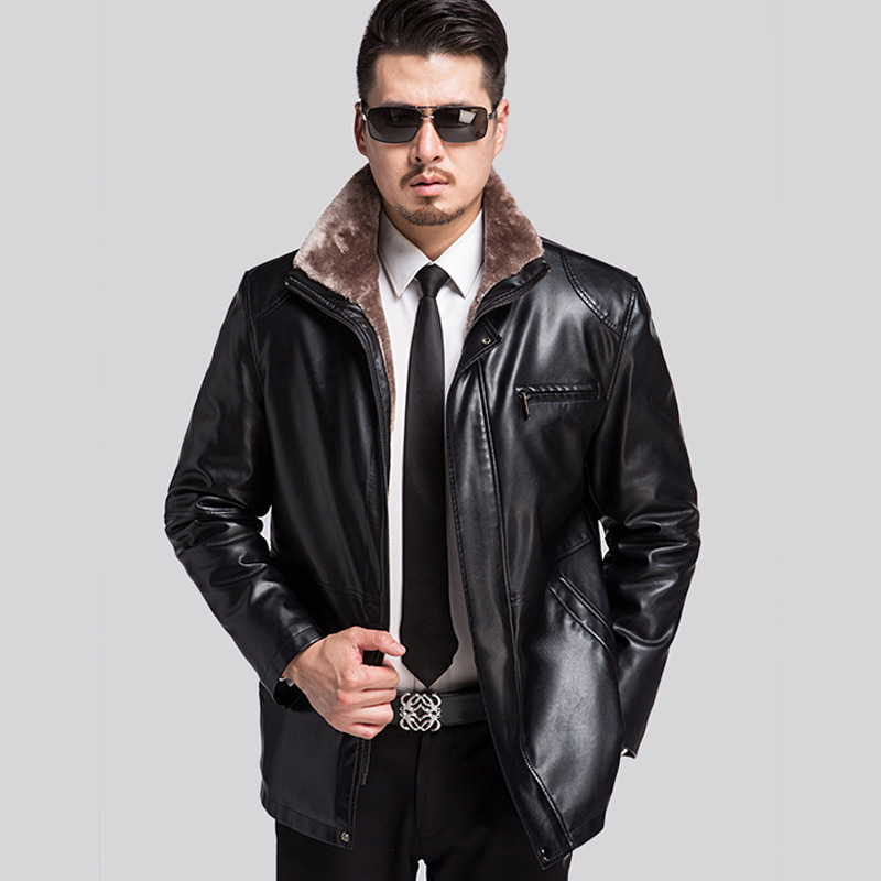 Thickening In Winter To Keep Warm Man Fur Coat Middle-aged Men Integrated Business Leather Jacket