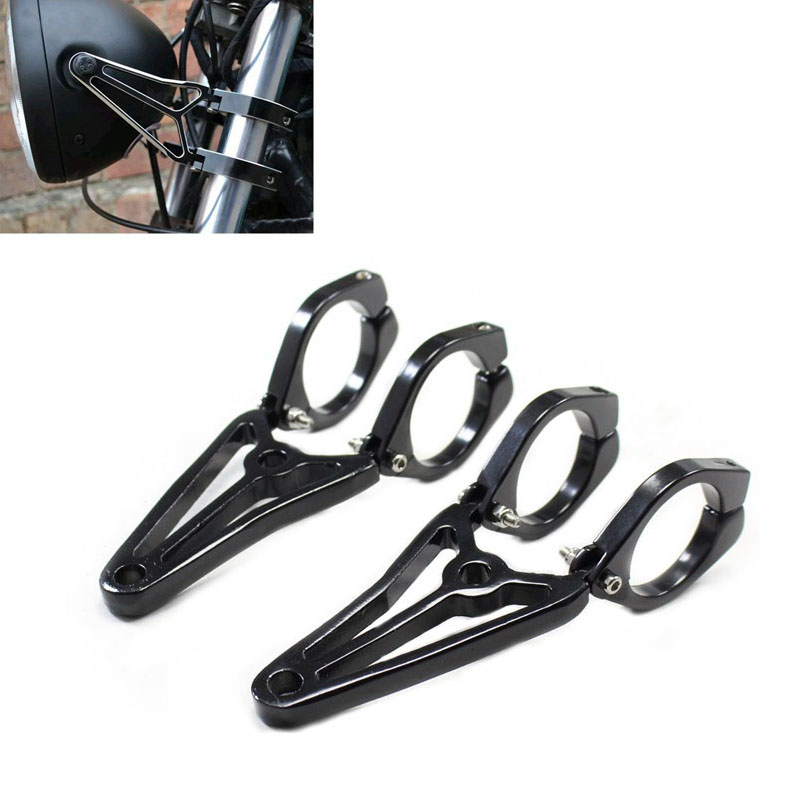 Motorcycle 41mm Fork Ear Turn Signal Clamps Headlight Mount Bracket For  Chopper Cafe Racer