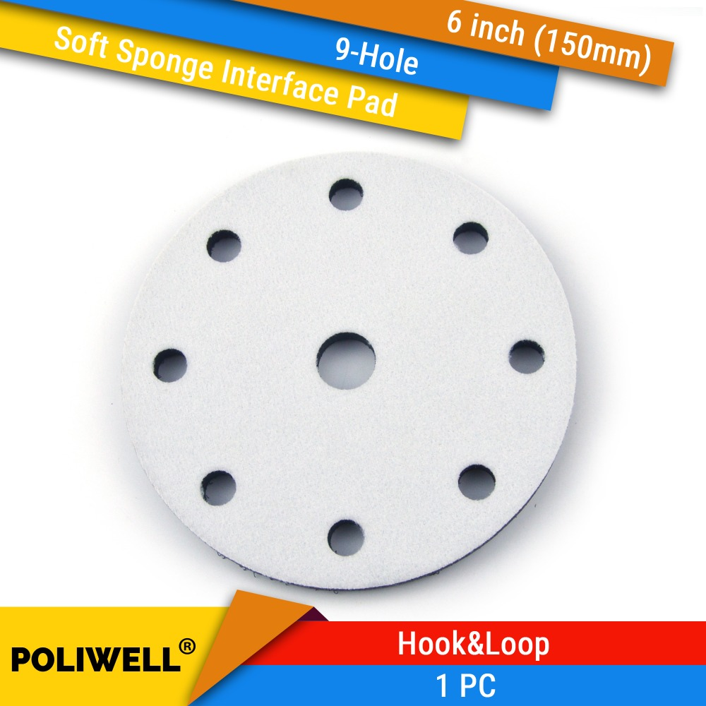 6 Inch 150mm 9-Hole Soft Sponge Dust-free Interface Pad For Hook And Loop Sanding Pad Fits Power Tools Uneven Surface Polishing