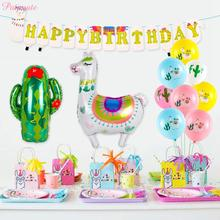 PATIMATE Birthday Party Decoration Kids Favors Alpaca Balloons Supplies Baby Shower Decorations Jungle Animal Decors