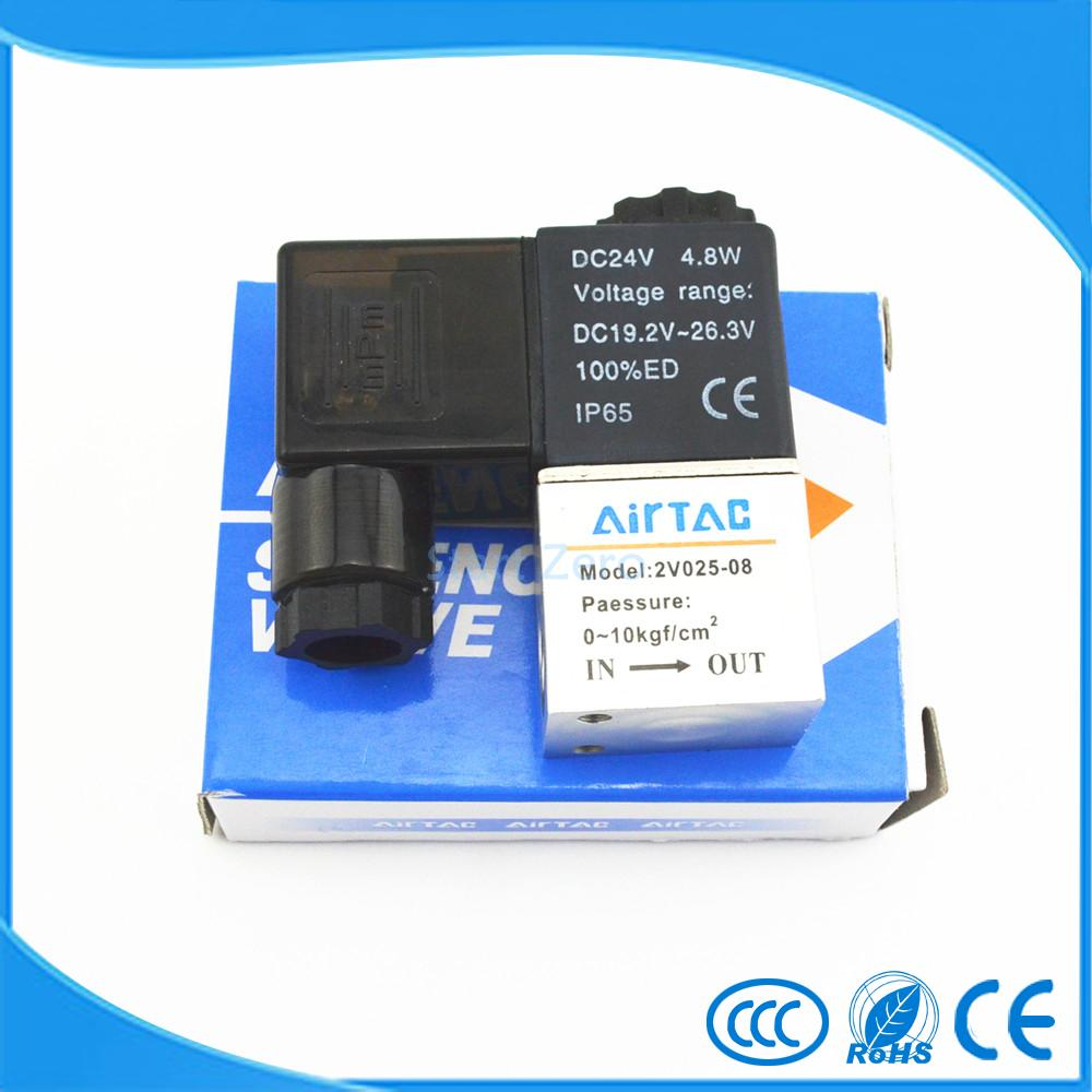 Pneumatic Air 2 Way 2 Position 1/4AIRTAC Solenoid Valve 2V025-08 4a210 08 5 way 2 position airtac air control solenoid valve 1 4 bsp 5 2 type