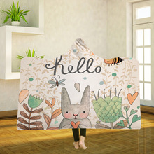 Yoga mat Hooded Blanket Cloak Magic Hat Thick Double-layer Plush 3D Digital Printing Anime Rabbit Series