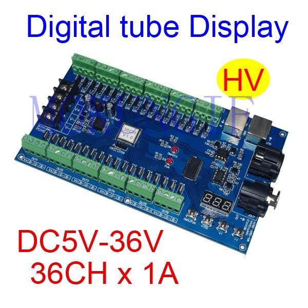 5pcs constant current 36CH HV 5V-36V dmx512 Controller,decoder,36 channel 13groups RGB output,Digital tube Display for LEDstrip 350ma constant current 12ch dmx dimmer 12 channel dmx 512 dimmer drive led dmx512 decoder rj45 xrl 3p