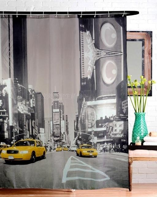 New York taxi impression rideau de douche Times Square polyester ...