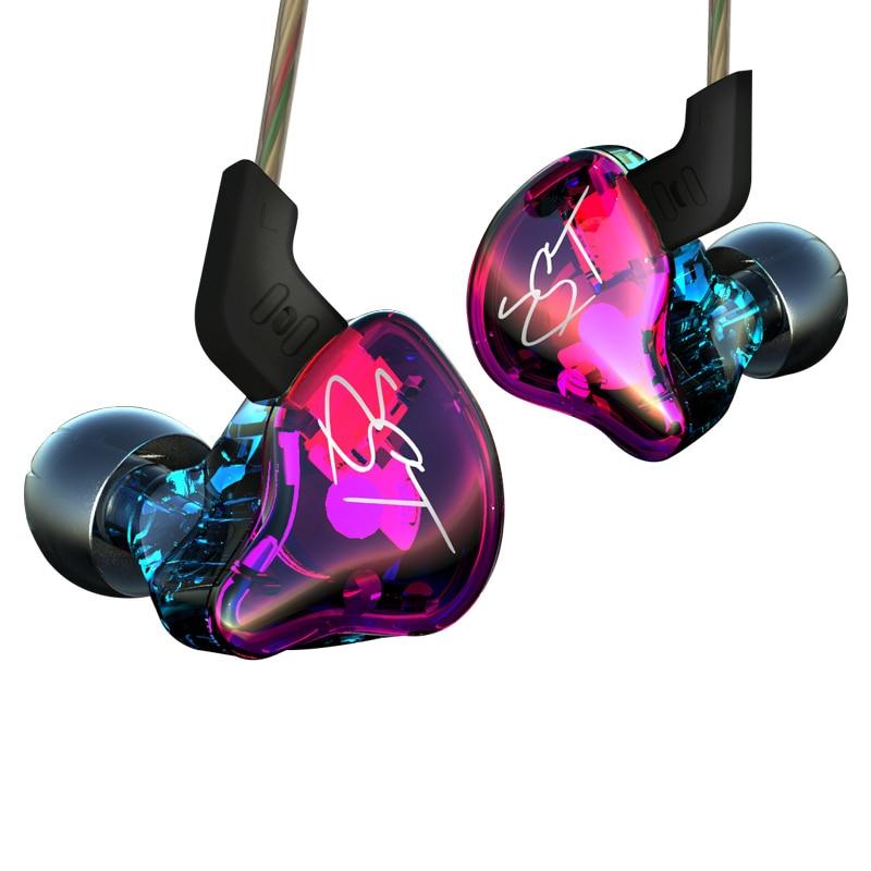 IZK KZ ZST 1DD+1BA Hybrid In Ear Earphone HIFI with mic Running Sport Earphones Earplug Headset black blue Color vs se215 se5 tt tf ths 02b hybrid style black ver convoy asia exclusive