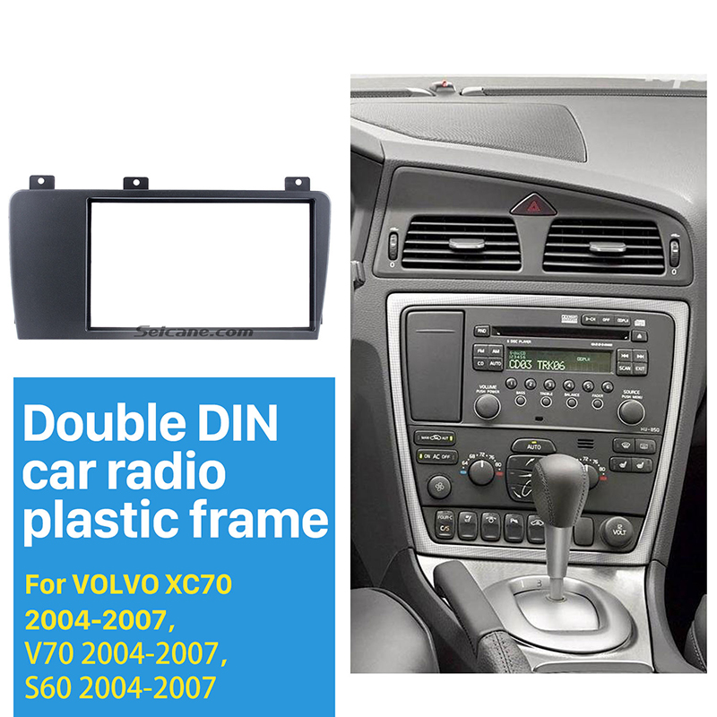 Seicane Double Din Car Radio Fascia Frame for 2004 2005 2006 2007 Volvo XC70 V70 S60 installation Trim Dashboard Panel Kit