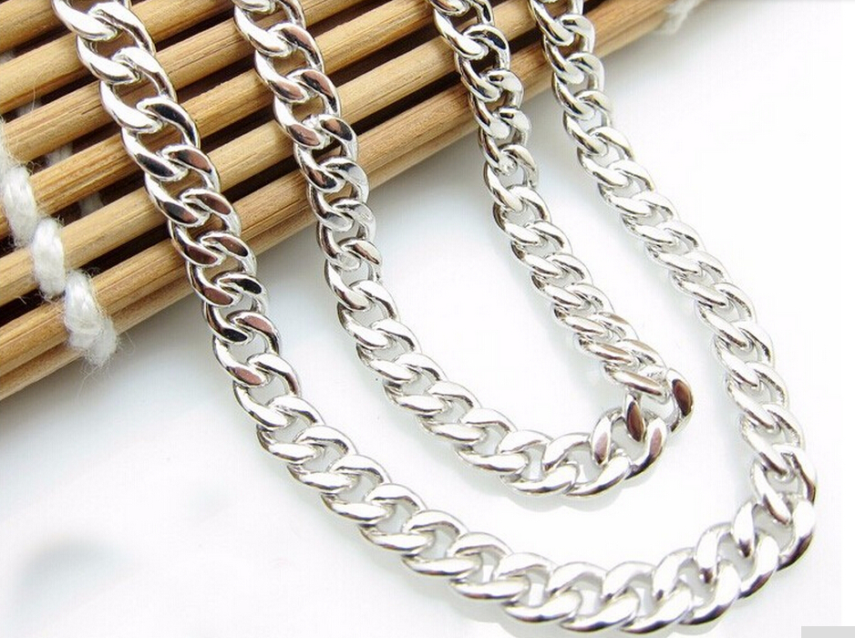 Hot sale fashion Pure 925 Sterling Silver Mens Necklace chain Heavy gold 20.16g