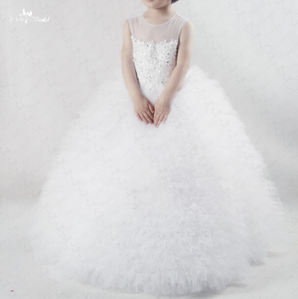 FG46 Lace White Girls Ball Gown Ruffle Tulle Flower Girl Dresses For Weddings