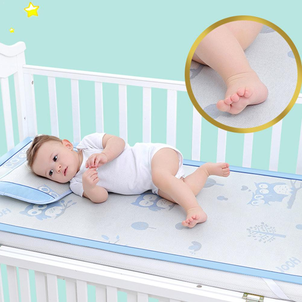 Baby Viscose Mat Ice Cooling Crib Set Foldable Summer Folding Sleeping Mat Bed Blue Green Sheet Flower Bed Linens Pillow