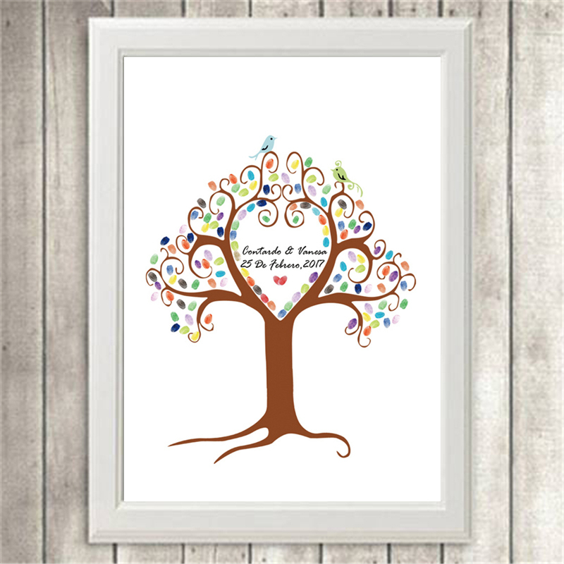 diy custom fingerprint tree guestbook signature for wedding party creative souvenir no frame canvas painting wall