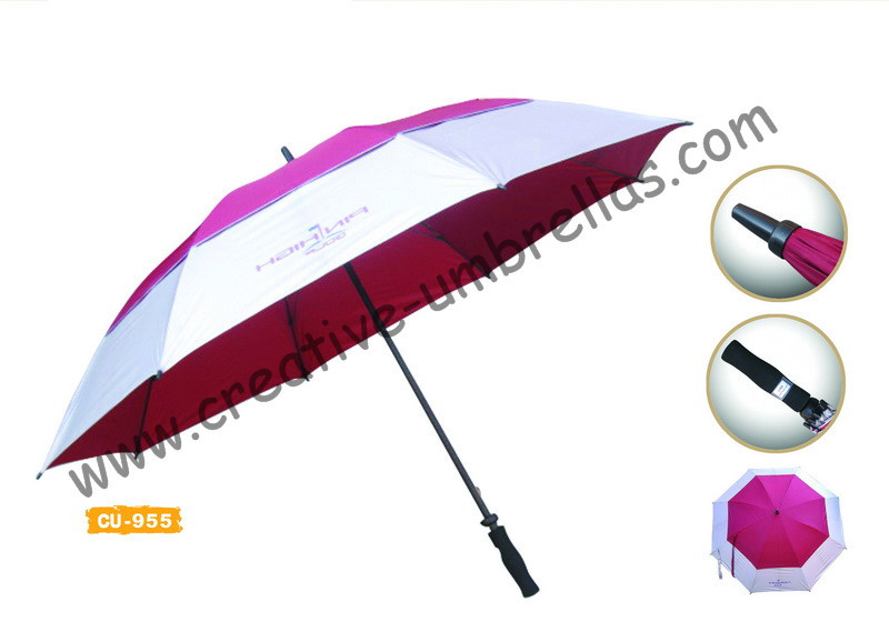 Free shipping by sea,14mm fiberglass shaft and ribs,golf umbrella,windproof,anti-thunderbolt,190T polyester silver coating