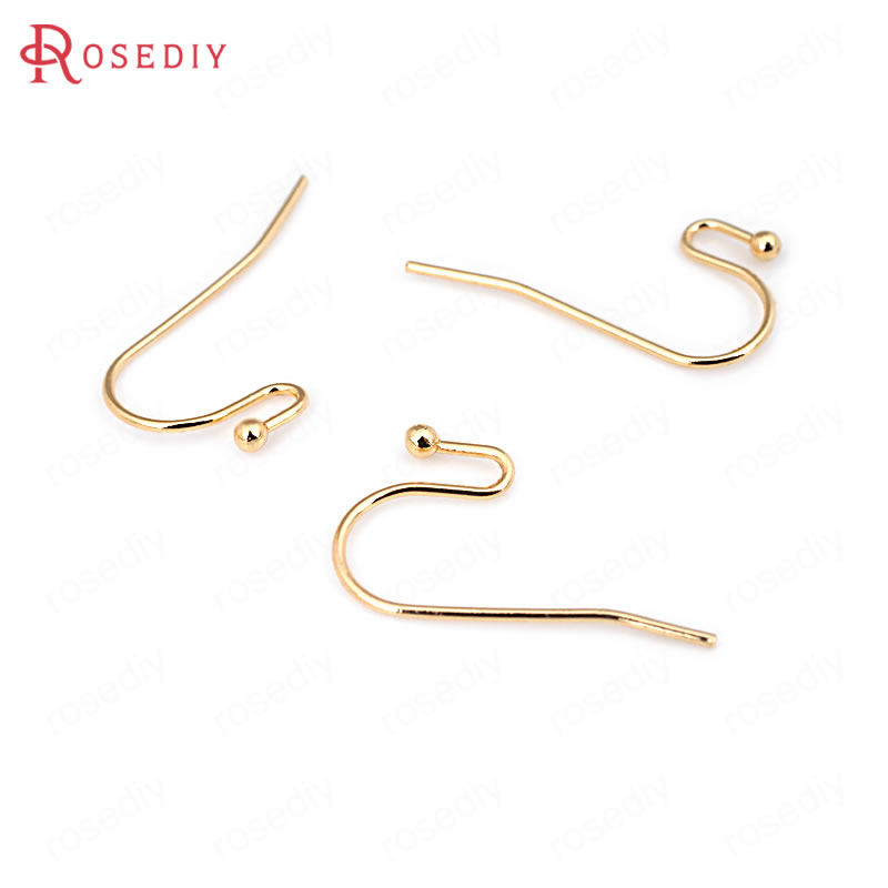 10PCS Height 22MM 24K Champagne Gold Color Plated Brass Earring Hooks High Quality Diy J ...