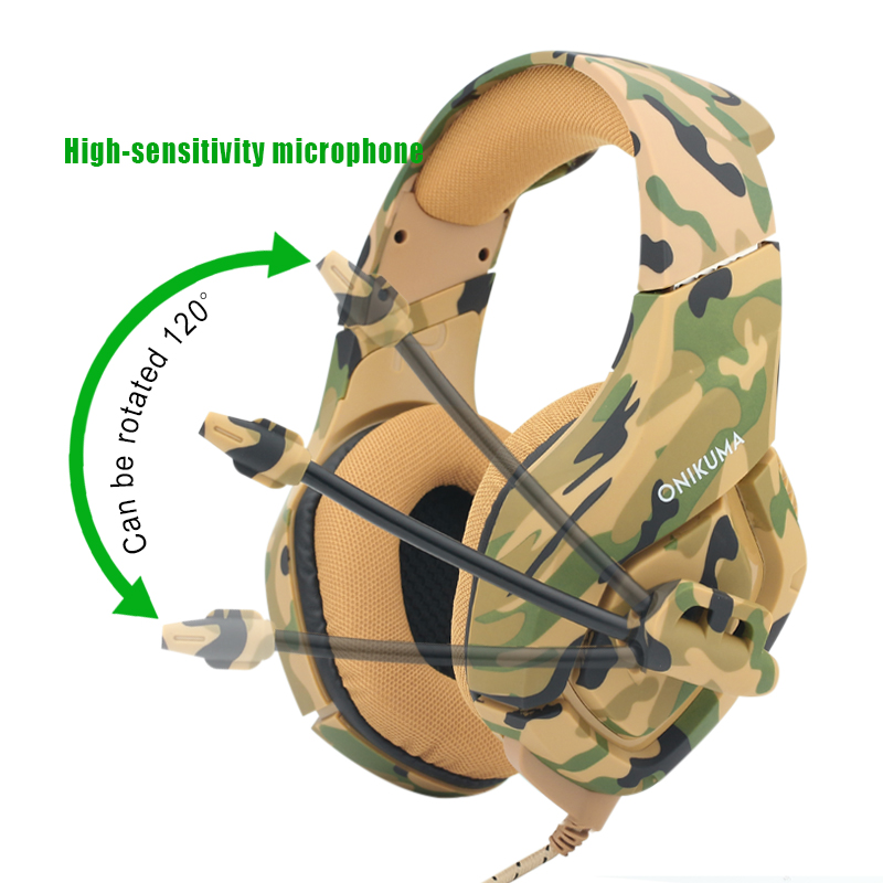 New K1 Gaming Headset Camouflage PS4 Gaming Headphones Deep Bass Stereo Subwoofer Headphone with Mic for PC Mobile Phone Laptop new 2015 best quality earphones with mic 3 5mm jack stereo bass 10 colors for mobile phone mp3 mp4 pc free shipping