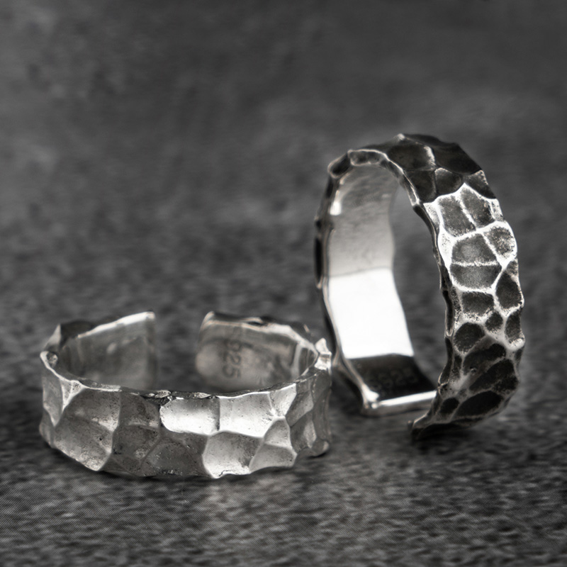 925 Sterling Silver Open Rings For Man And Women Vintage Hammer Pattern  Fashion Jewelry  Mygrillz