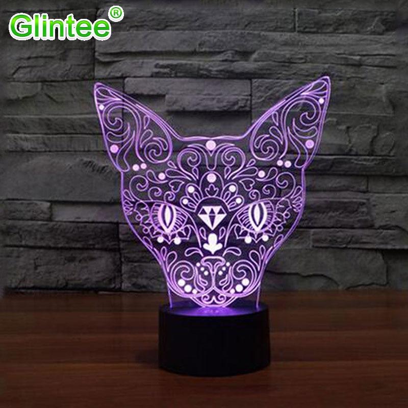 Elegant 3D little Cat Shape Nightlights 3d led Night Light Sensor Switch Botton Desk Reading Lamp for kids toys