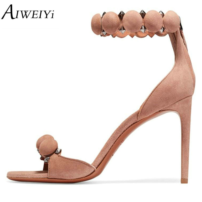 AIWEIYi Fashion Shoes Women Sandals 2018 Summer Open Toe Ankle Strap Sexy High Heels Pink Black Ladies Shoes Wedding Party Pumps hot 2016 new fashion t strap buckle pumps women high heels ladies sexy pointed toe summer party wedding patchwork shoes sandals