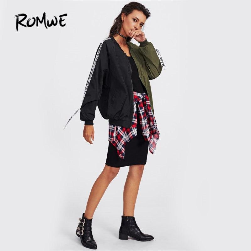 ROMWE Patch Zurück Band Detail Zwei Ton Bomber Jacke 2018 Herbst Print Zipper Jacken Multi Farbe Stehkragen Kurze Jacke