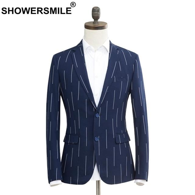 Showersmile Slim Fit Blazer Men Stripe Plus Size Navy Blue Suit