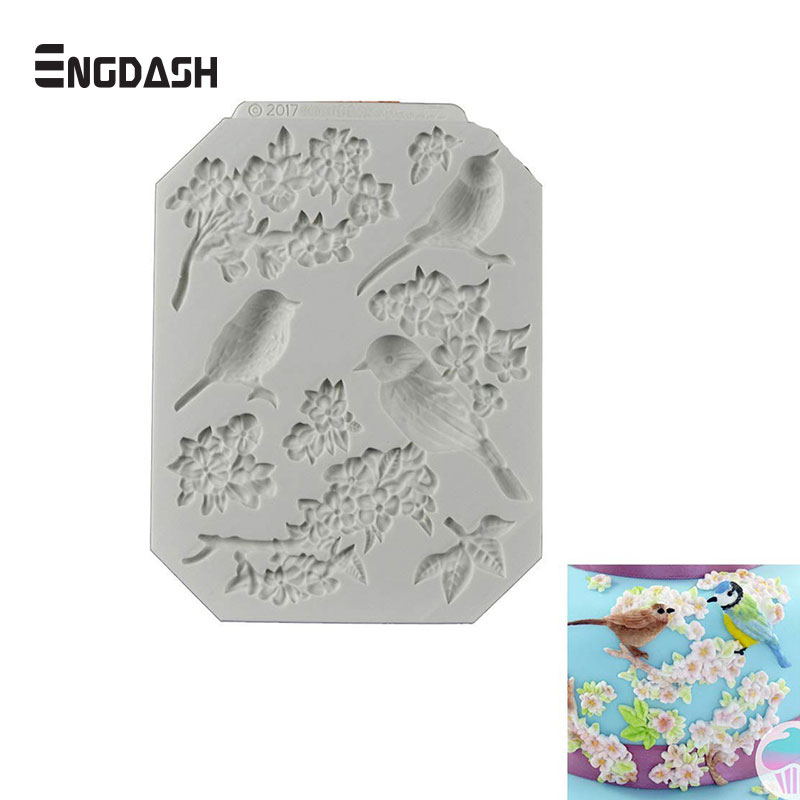Kitchen,dining & Bar Home & Garden Engdash 1pc 3d Fondant Silicone Mold Dry Pace Clay Magpie Bird Rose Shape Epoxy Clay Tools For Diy Kitchen Bakeware Tools