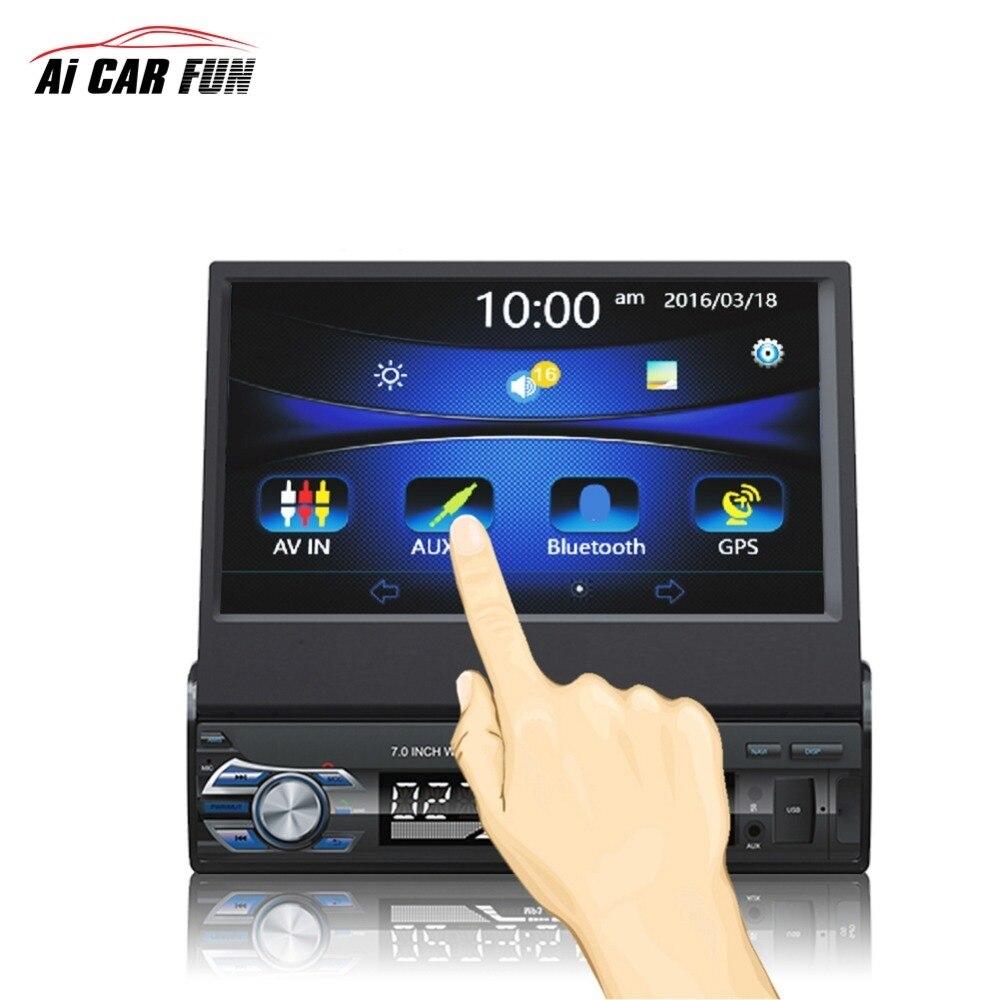 RM-GW9601 7 pouces 1DIN HD mains libres Bluetooth voiture stéréo GPS navigation autoradio traction automatique lecteur MP5 FM USB cartes SD