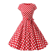 Vintage Hepburn Style 50s Midi Dress Women Polka Dots Audrey Short Sleeve High Waist Bow Pleated Ball Gown Dress for Party Women retro style sleeveless high waist printed pleated dress for women