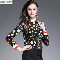 WREEIMA 2018 100 Real Silk Printed Shirt Women Fashion Luxury Designer Turn Down Collar Long Sleeve