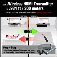 Mirabox 300 м HDMI Over Powerline Extender ИК работать как 100 м Беспроводной HDMI Extender ИК Поддержка 1080 P plc отправителя и приемник