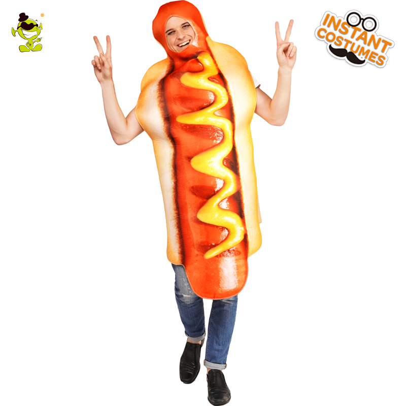 Carnival Party Adult Unisex Hot Dog Jumpsuit Costume Imitation Halloween Party Cosplay Food Outfits Hot Dog Clothes