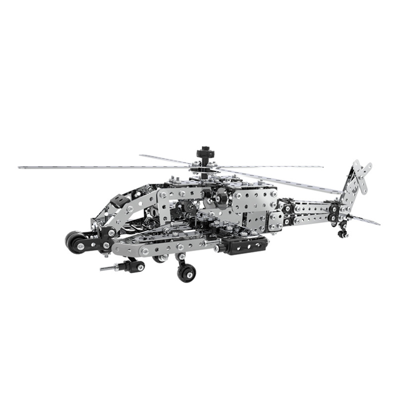 567pcs DIY Stainless Steel Telicopter Model Puzzle Toy Metal 3D Plane Assembly Building Kits Collection Toys For Boys Gift