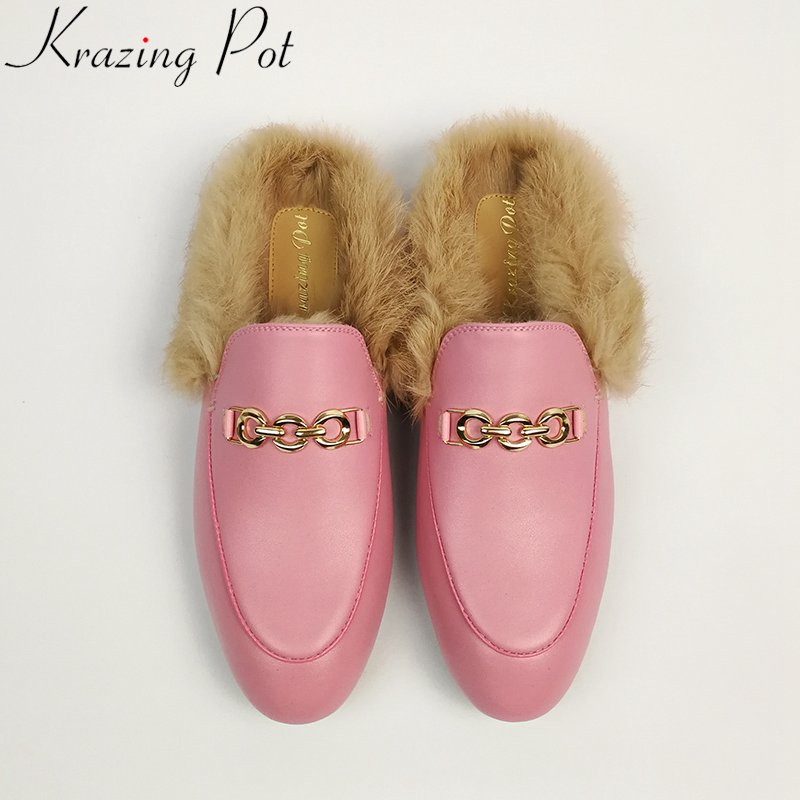 Krazing Pot 2019 genuine leather brand shoes slip on fur large size embroidery flat with outside slippers slingback winter shoes