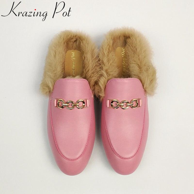 Krazing pot 2019 정품 가죽 브랜드 신발 슬리퍼 슬링 백 겨울 신발 외부 모피 대형 자수 플랫에 미끄러 져-에서슬리퍼부터 신발 의  그룹 1