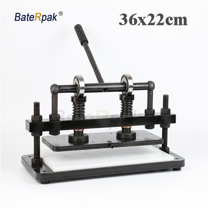 36x22cm Double Wheel plus Hand leather cutting machine BateRpak photo paper PVC sheet cutter leather Die