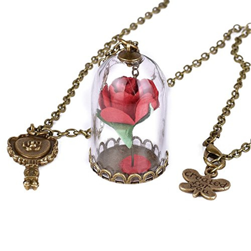 beast itm and final necklace gold s pendants the flower silver rose women charm beauty