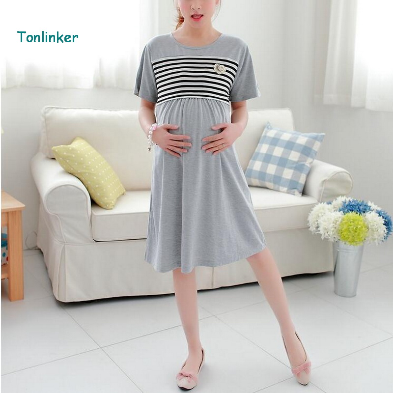 Tonlinker Cotton Nursing maternity Summer Dress 2018 New casual maternity Dresses Breastfeeding And Breathable pregnant clothes