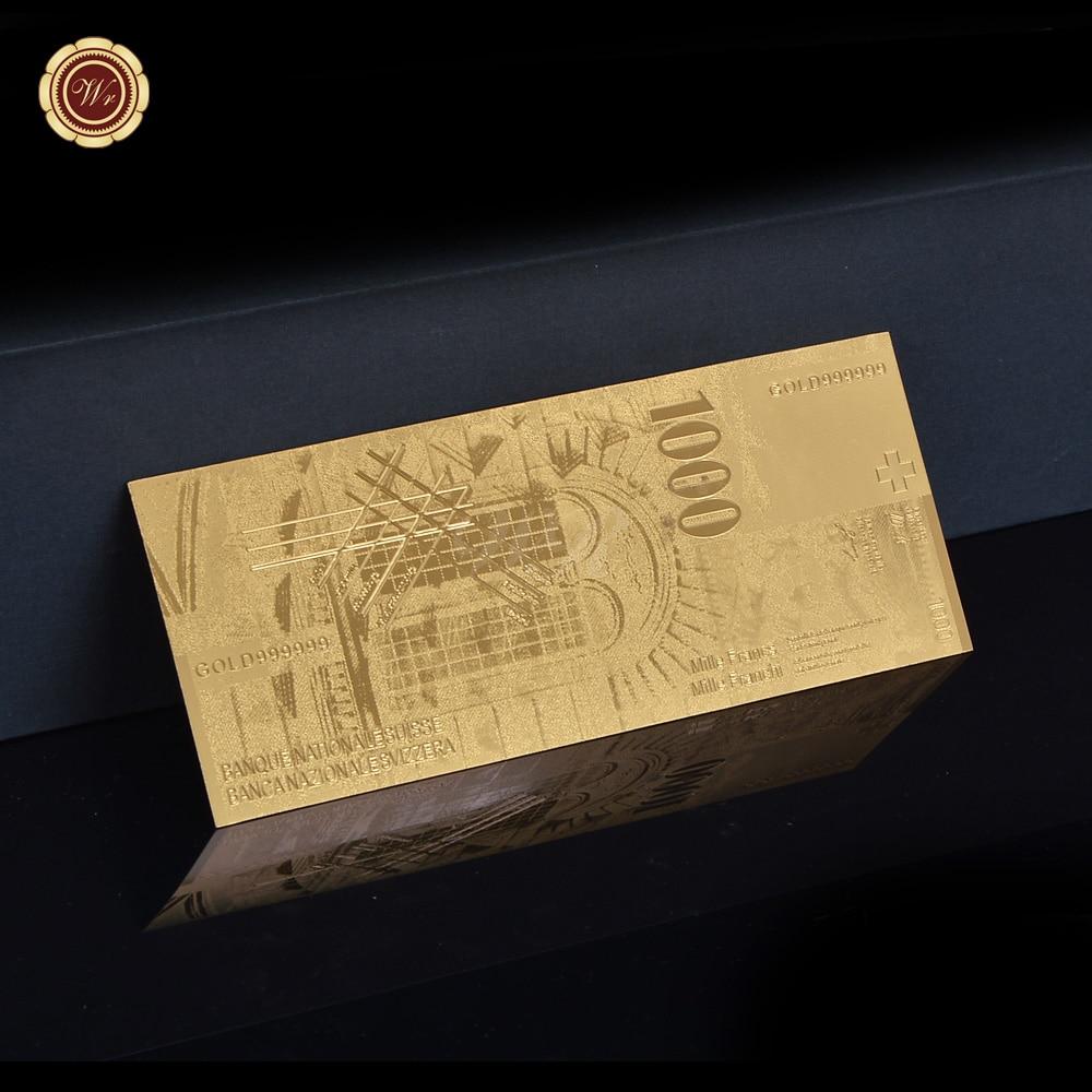 7d27849c80 Notas De Folha De Ouro Banhado A moeda Nova Suíça 1000 Francos Plástico PET  Material Da Folha de Ouro