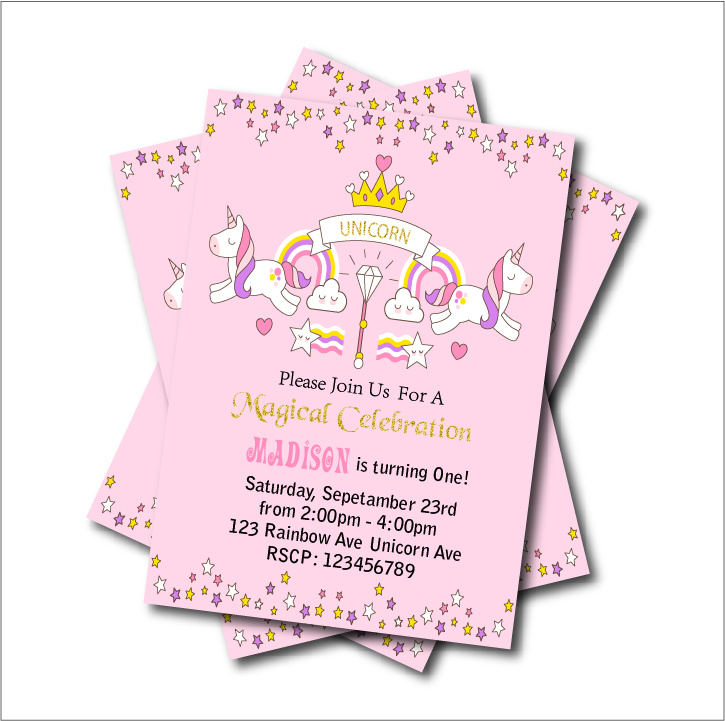 20 pcs/lot Personalized Princess Birthday Party Invitation Card Baby ...