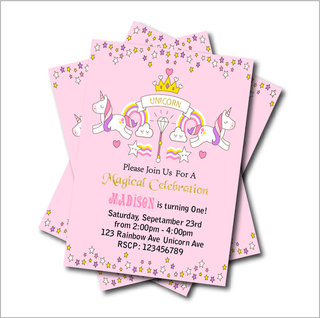 20 pcslot unicorn birthday party invitations baby shower invites 20 pcslot unicorn birthday party invitations baby shower invites rainbow magical girls party decoration filmwisefo