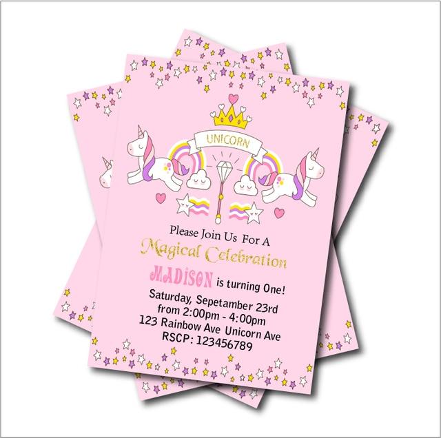 Aliexpress buy 20 pcslot unicorn birthday party invitations 20 pcslot unicorn birthday party invitations baby shower invites rainbow magical girls party decoration filmwisefo