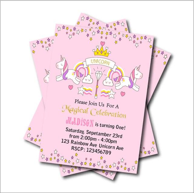 20 Teile/los Einhorn Geburtstag Party Einladungen Baby Dusche Lädt  Regenbogen Magische Mädchen Party Versorgung