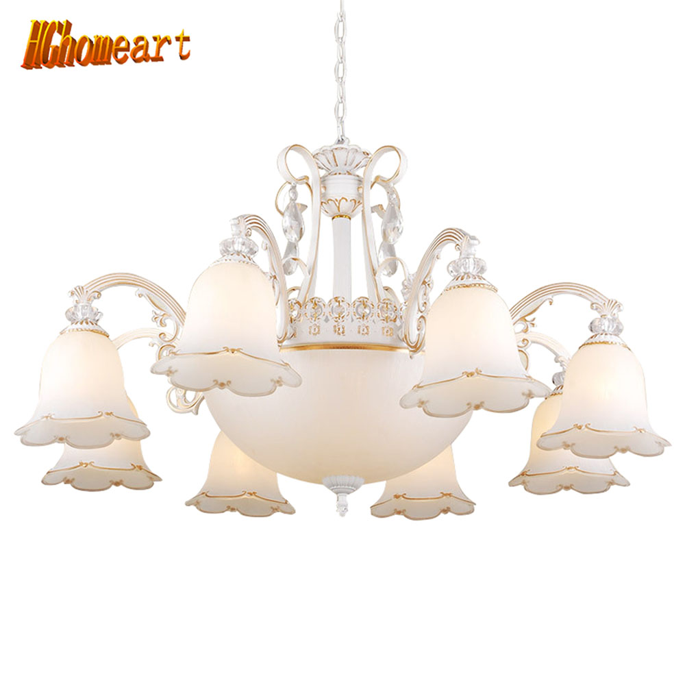 HGhomeart Chandelier European Crystal Living Room Chandelier Jane Bedroom Ceiling Zinc Alloy American Restaurant Lobby Lights-in Chandeliers from Lights & Lighting    1