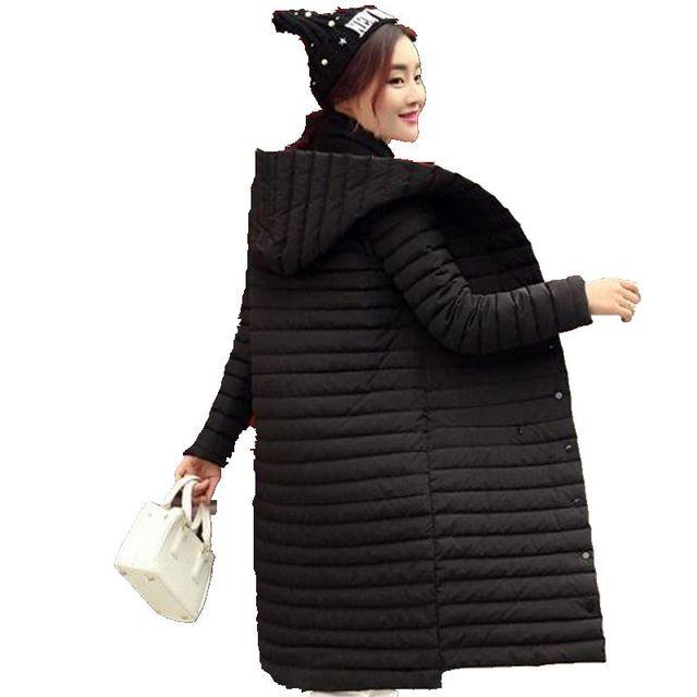 Свет тонкий Теплое Зимнее Пальто Чистый цвет Длинным рукавом С Капюшоном Куртки новый Стиль Женщины пуховик Свободные Досуг Большой ярдов Пальто G2661