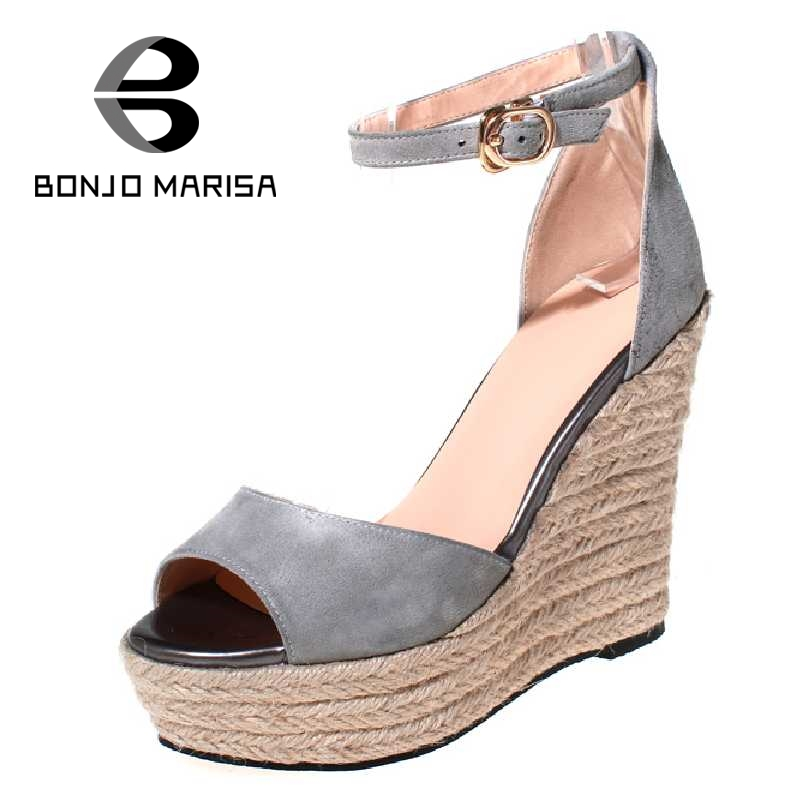BONJOMARISA Straw Wedge Women Summer Shoes Ankle Strap High Heel Open Toe Platform Shoes 2017 Party Wedding Woman Footwear ankle strap wedge heel shoes for women comfort open toe shoes girls sandals 2016 new summer