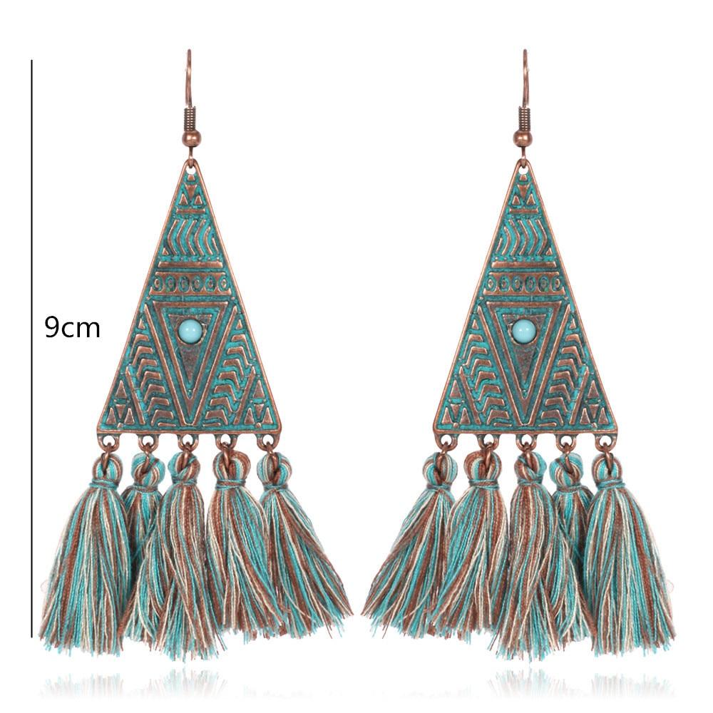 30fe8faf6f5 US $1.76 27% OFF|Antique Gold Color Triangle Egyptian Drop Earrings Morocco  Dangle Earrings Long Earrings for Women Long Tassel Earrings-in Drop ...