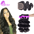 10A Malaysian Virgin Hair With Closure Human Hair 3Bundles With Lace Closures/Malaysian Body Wave With Closure Aliexpress Hair