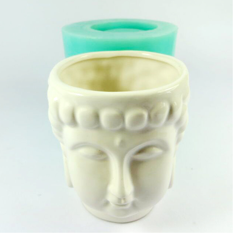 PRZY Silica gel silicone mold 3d vase molds cement flowers pots Buddha head mould classic Home