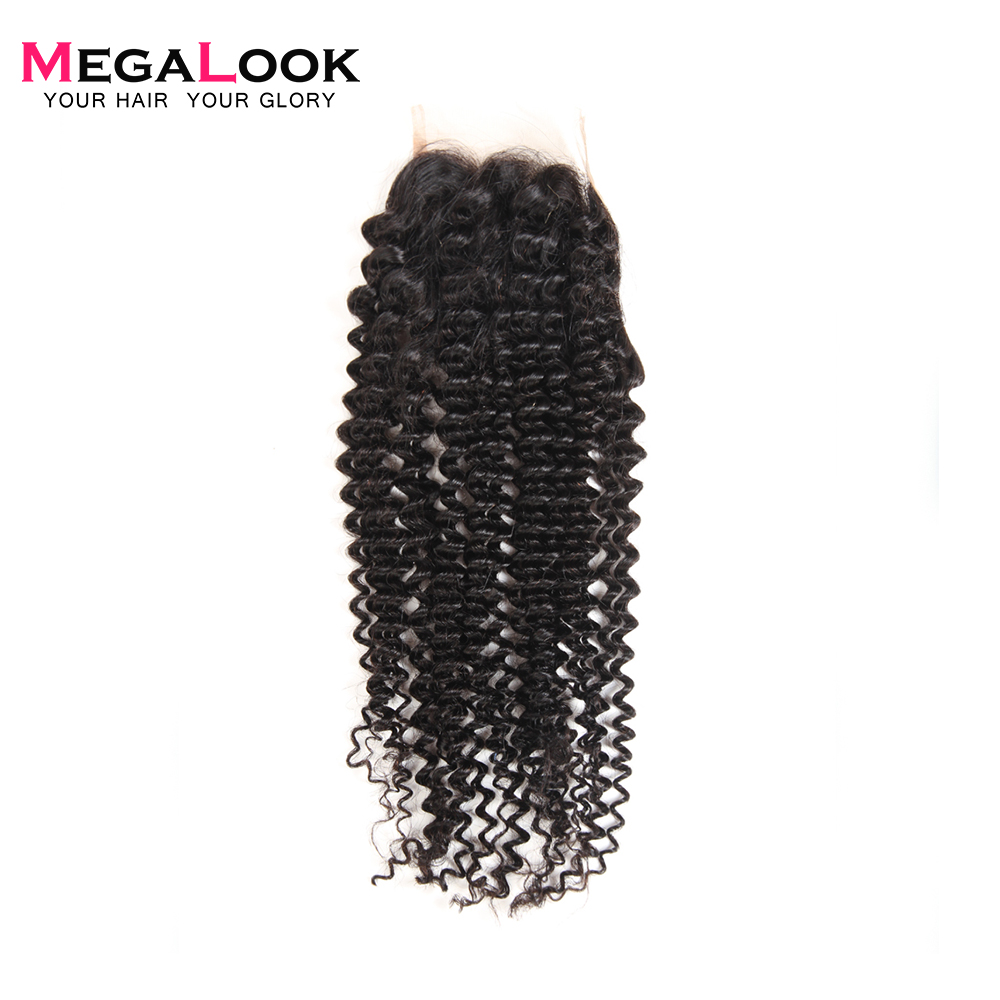 Megalook Kinky Curly Lace Closure 10-22inch Brazilian Remy Human Hair Lace Closure Light Brown