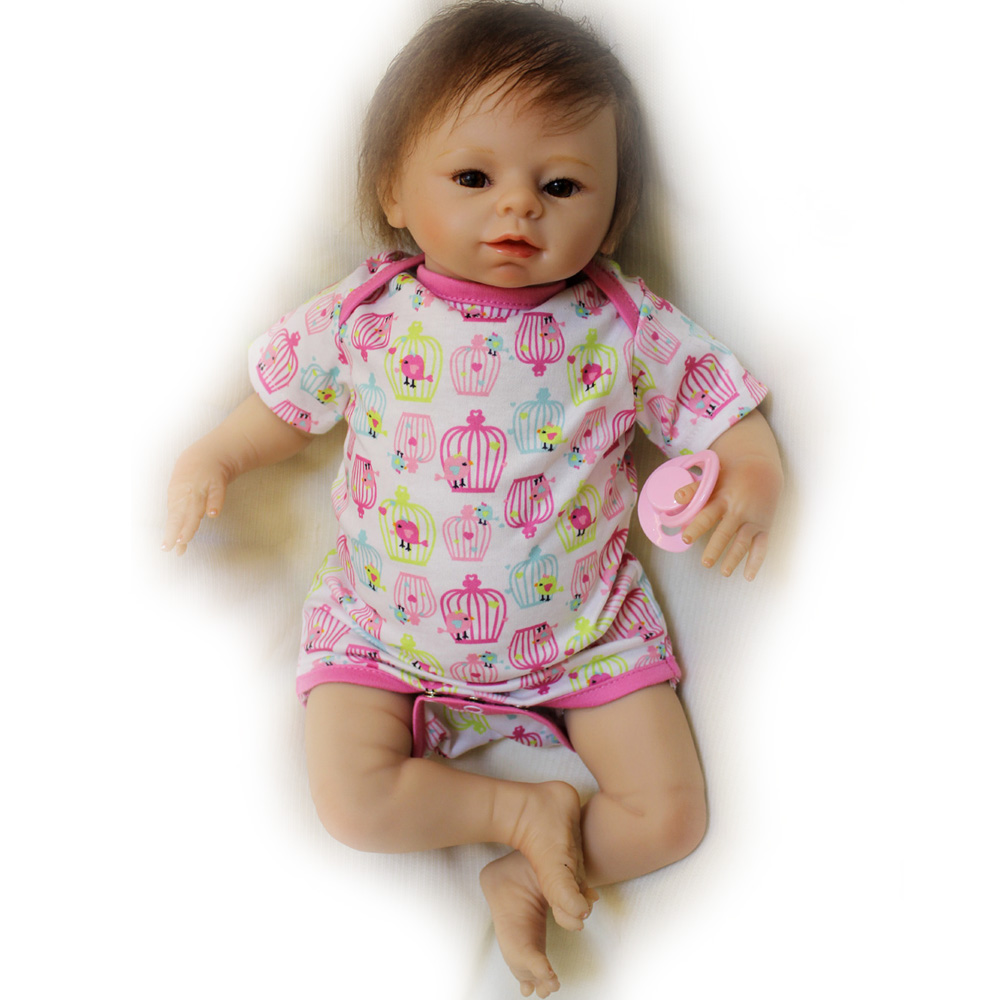 50-55CM Silicone Doll Reborn Baby Girl Lovely Handmade Cloth Body opened Eyes Dolls Toys Growth Partners Brinquedos kids Gift partners lp cd