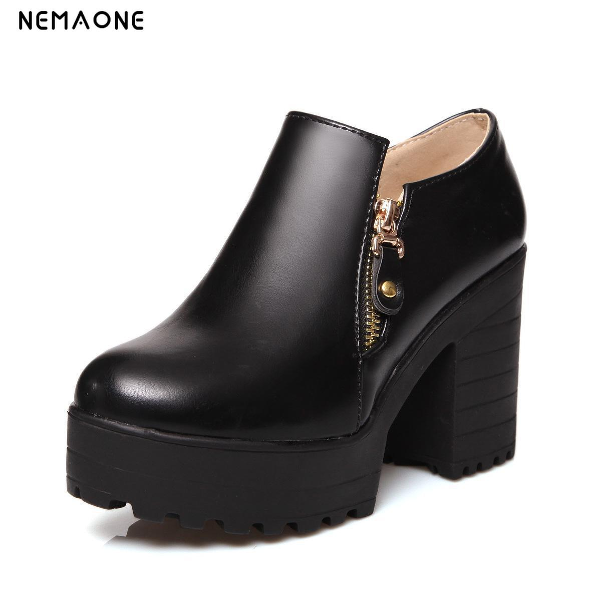 NEMAONE 2017 New fashion women shoes thick high heels platform shoes woman shoes spring autumn women pumps zipper ladies shoes 2017 elegant high heels fashion bowtie ladies pumps sexy spring autumn platform shoes woman black and blue women shoes hds72