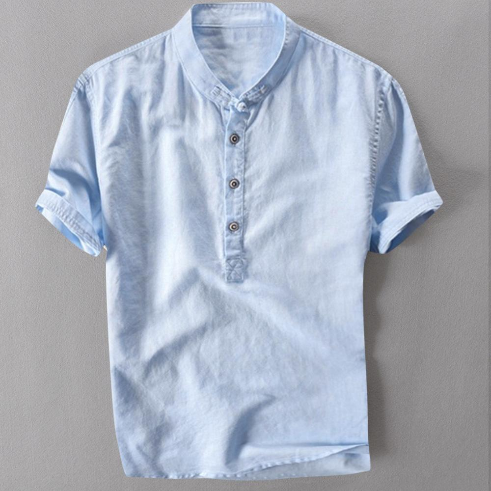 Mens Casual Shirt Short Sleeve Cotton Linen Shirts Men Loose Collar Hanging Dyed Gradient Shirt Chemise Homme Drop shipping c